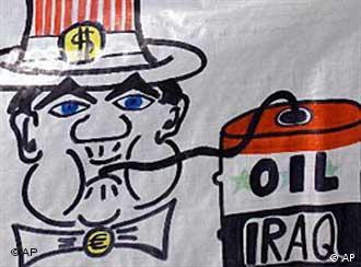 پلاکادری برافراشتهشده در تظاهراتی علیه یورش به عراق (مادرید، اکتبر ۲۰۰۳)