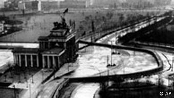 The Brandenburg Gate sealed off in the Soviet sector of East Berlin in 1961