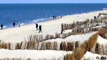 Küstenschutz auf der Nordseeinsel Sylt Winter