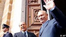 Wladimir Putin und Silvio Berlusconi EU-Gipfel
