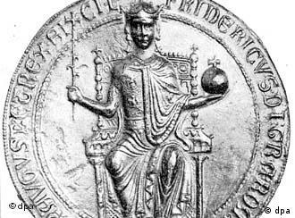 Moeda com a insígnia de Frederico 2º (1194-1250)