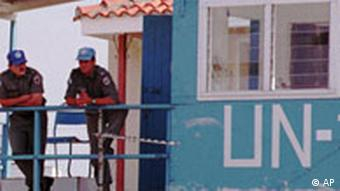 UN outpost in the buffer zone between north and south Cyprus with UN guards posted.
