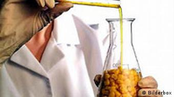 A person in a lab coat with corn in a test tube