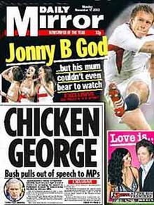 Daily Mirror: Titelseite, Chicken George