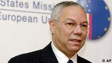 U.S. Secretary of State Colin Powell speaks during a plaque unveilng ceremony at the U.S. mission to the EU in Brussels, Tuesday Nov. 18, 2003. Powell unveiled a plaque commemorating 50 years of the EU and the US working together. (AP Photo/Virginia Mayo)