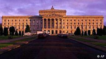 Dawn breaks over the Parliament Buildings at Stormont, Belfast, Northern Ireland