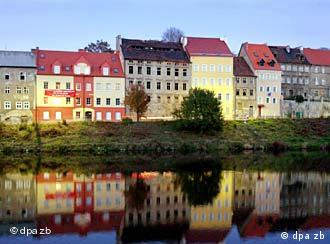 Colourful townhouses on edge of the Neisse river in Görlitz