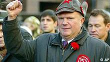Communist leader Gennady Zyuganov, wearing a Budenovka ( Soviet cavalry hat ) marches in Moscow to mark the Day of Accord and Reconciliation Friday, Nov. 7, 2003. Pomp mixed with politics as Russia marked the anniversary of the 1917 Bolshevik Revolution with marches and rallies on a holiday Friday that coincided with the start of the campaign for December parliamentary elections. (AP Photo/ Mikhail Metzel)