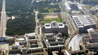 An aerial view of the Berlin government quarter
