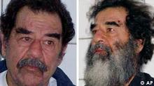 Saddam Hussein mit und ohne Vollbart