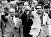 Erich Honecker and Egon Krenz during a GDR peace march in Potsdam, 1983