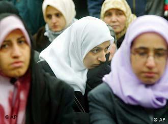 A group of Muslim women in headscarves