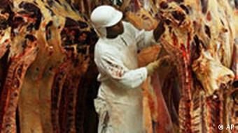 A butcher cuts a chunk of beef off a row of hanging carcasses