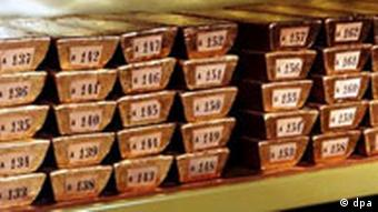 numbered gold bars in a central bank's vault