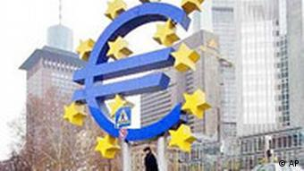 A sculpture of the euro at the European Central Bank in Frankfurt
