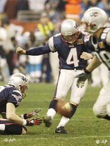 American Football Superbowl, Patriots, Adam Vinatieri, Kick