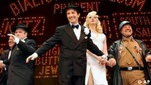 Actors Martin Short, center, and Jason Alexander, left, along with other cast members take a curtain call at the Pantages Theatre on Thursday, May 29, 2003, in Los Angeles. Thursday was opening night for the Los Angeles production of Mel Brooks' new stage version of The Producers. (AP Photo/Ric Francis)