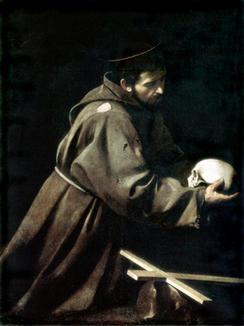 Caravaggio 1603 Heiliger Franziskus in Meditation über den Tod Ausstellungstipps v. 19.02.2004