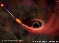 Una ilustración de la NASA de un agujero negro.