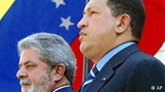Lula da Silva in Caracas G-15 Gipfel mit Hugo Chavez