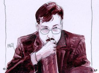 eine Gerichtszeichnung von Marc Dutroux währens seines Prozesses