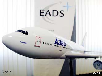 A model of the Airbus A380 passenger plane is seen at the EADS offices in Augsburg