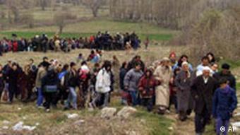 Kosovo-Albaner auf der Flucht 1999
