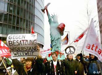 Anti-war demonstrations in Berlin on Saturday were small compared to those elsewhere.