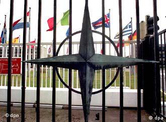 NATO star on the gate at alliance headquarters in Belgium