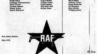 RAF letter announcing the dissolution of the group