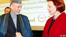 Afghanistan Konferenz Hamid Karsai und Heidemarie Wieczorek-Zeul