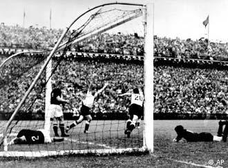 Helmut Rahn scores the winning goal against Hungary
