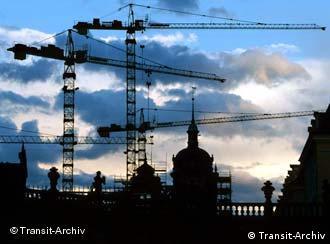 Silueta de la ciudad de Dresde en tiempos de reconstrucción.