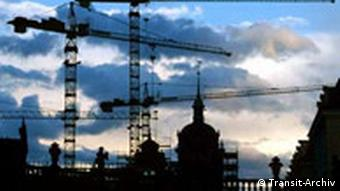 Construction cranes over the eastern city of Dresden