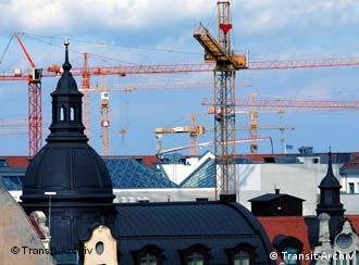Construction cranes in the eastern German city of Leipzig
