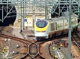 Train enters Channel Tunnel