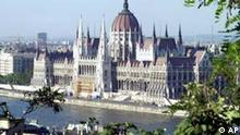 An outside view of the Hungarian Parliament Building in Budapest is given in this Aug. 18, 2003 file picture. The giant neo-gothic building, one of Budapest's landmarks, was built at the turn of the 20th century. Hungary, along with nine other countries, will join the EU on May 1, 2004. (AP Photo/Bela Szandelszky)