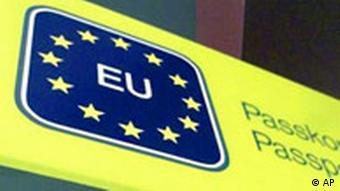 An EU passport control sign