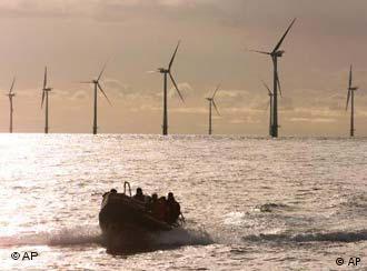 An offshore wind farm in Denmark