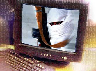 A picture of a masked terrorist on a computer screen