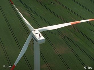 A wind turbine in the eastern German state of Brandenburg
