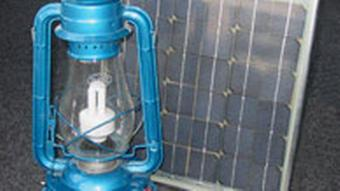 A parafin lamp and a solar panel
