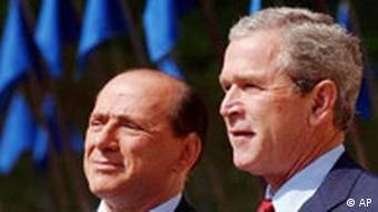 Treffen: Präsident Bush und Premierminister Silvio Berlusconi