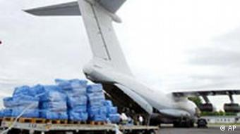 Cargo plane with humanitarian aid ready for loading