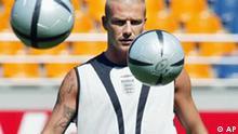 David Beckham Vorbereitung auf das Spiel England Schweiz