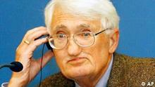 German philosopher Juergen Habermas listens to a question during a press conference in Madrid, Spain, Oct. 22, 2003, where he was to receive the Prince of Asturias Award for Social Sciences Oct. 24. Habermas won one of this year's Kyoto Prizes, a Japanese award for achievement in the arts and sciences, a foundation said Friday, June 11, 2004. (AP Photo/EFE, J.L. Cereijido) ** SPAIN OUT **