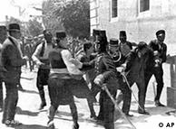 The young assassin whose shots set off World War I is taken by police to the police station in Sarajevo