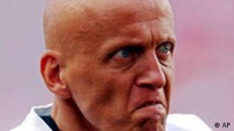 Italian referee Pierluigi Collina arrives for the Euro 2004 Group B soccer match between England and Croatia at the Luz Stadium in Lisbon, Portugal, Monday June 21, 2004. The other teams in Group B are Switzerland and France. (AP Photo/Adam Butler)