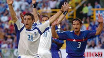 54e6f6f105 Jogadores gregos comemoram vitória decisiva sobre a França
