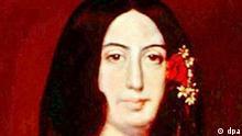 Die französische Schriftstellerin und Journalistin George Sand (bürgerlich: Aurore Dupin, verheiratete Baronin Dudevant) auf einem Gemälde von Auguste Charpentier, das sich in ihrem Wohnsitz Nohant befindet. (Undatiert). 1831 verließ George Sand ihren Mann und ging mit dem Schriftsteller Sandeau (daher ihr Pseudonym) nach Paris. Sie hatte Beziehungen zu Liszt, Berlioz und Balzac, von 1838-1846 lebte sie mit Chopin. Zu den Werken der Vorkämpferin der Frauen-Emanzipation gehören u.a. Indiana und Ein Winter auf Mallorca. George Sand wurde am 1. Juli 1804 in Paris geboren und verstarb am 8. Juni 1876 auf Schloss Nohant (Indre). dpa